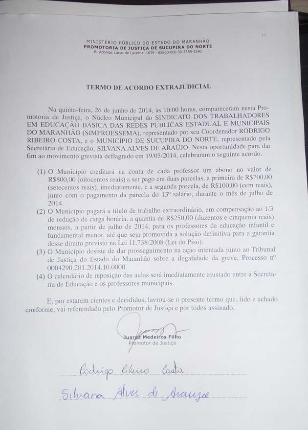 Acordo da greve em sucupira - 2014